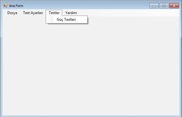 Güç Kaynağı Kontrol Test Yazılımı ana form